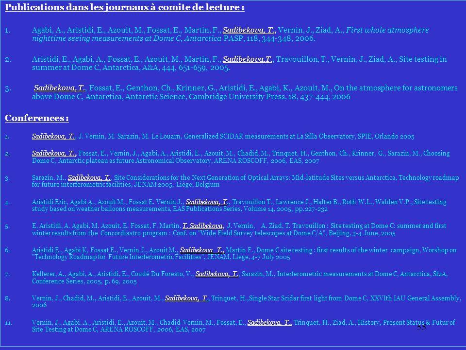 55 Publications dans les journaux à comite de lecture : Sadibekova, T.