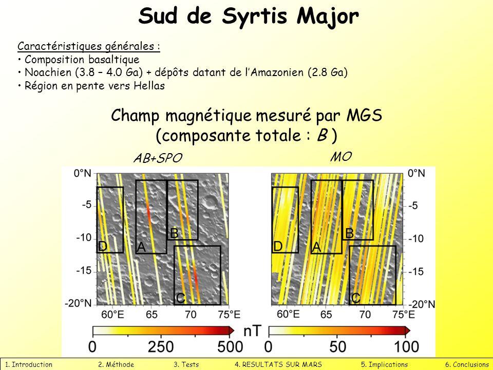 Sud de Syrtis Major 1. Introduction 2. Méthode 3. Tests 4. RESULTATS SUR MARS 5. Implications 6. Conclusions AB+SPO MO Champ magnétique mesuré par MGS