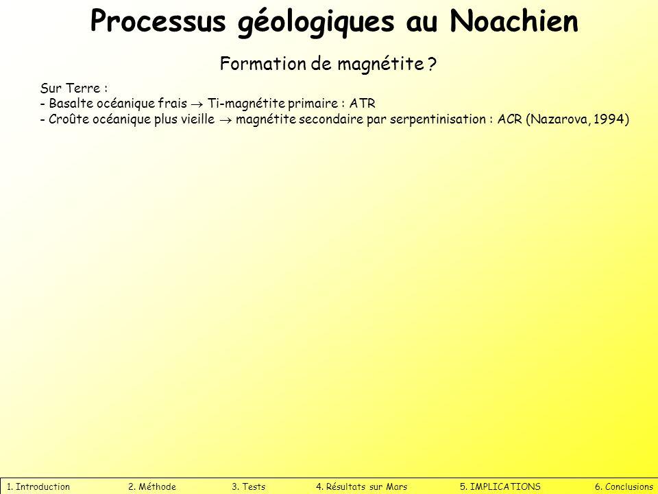 Processus géologiques au Noachien 1. Introduction 2. Méthode 3. Tests 4. Résultats sur Mars 5. IMPLICATIONS 6. Conclusions Formation de magnétite ? Su