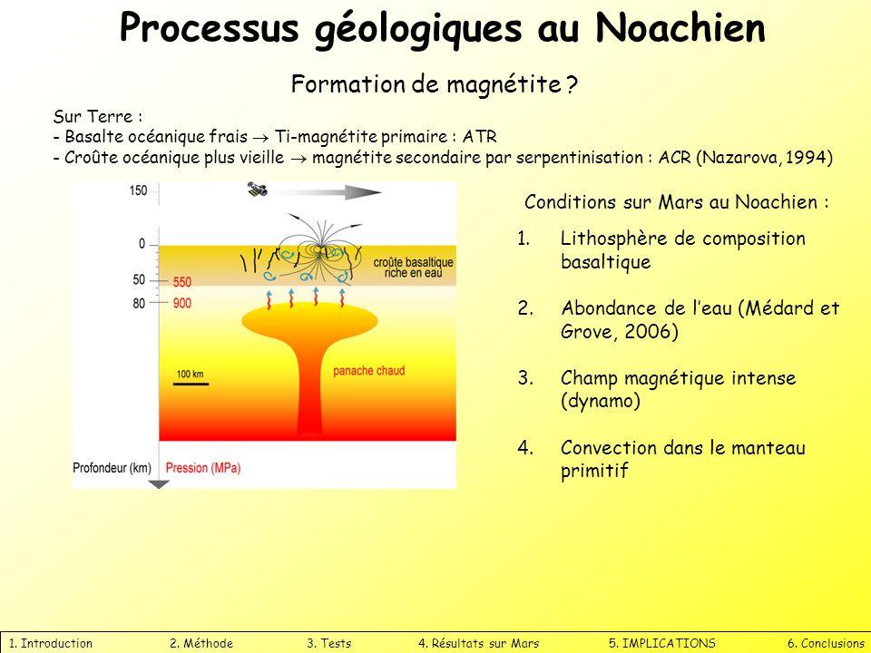 Processus géologiques au Noachien 1. Introduction 2. Méthode 3. Tests 4. Résultats sur Mars 5. IMPLICATIONS 6. Conclusions Formation de magnétite ? Co