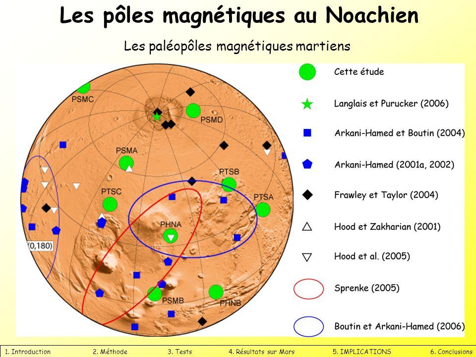 1. Introduction 2. Méthode 3. Tests 4. Résultats sur Mars 5. IMPLICATIONS 6. Conclusions Les paléopôles magnétiques martiens Les pôles magnétiques au