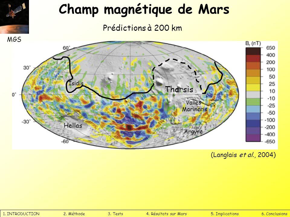 Champ magnétique de Mars 1. INTRODUCTION 2. Méthode 3. Tests 4. Résultats sur Mars 5. Implications 6. Conclusions Prédictions à 200 km Tharsis Hellas