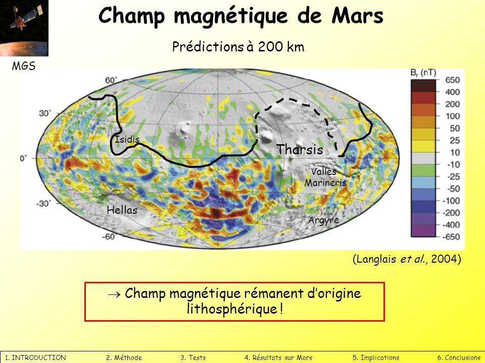 Champ magnétique de Mars 1. INTRODUCTION 2. Méthode 3. Tests 4. Résultats sur Mars 5. Implications 6. Conclusions Tharsis Hellas Argyre Valles Mariner