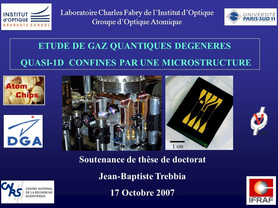 1 Laboratoire Charles Fabry de lInstitut dOptique Groupe dOptique Atomique ETUDE DE GAZ QUANTIQUES DEGENERES QUASI-1D CONFINES PAR UNE MICROSTRUCTURE