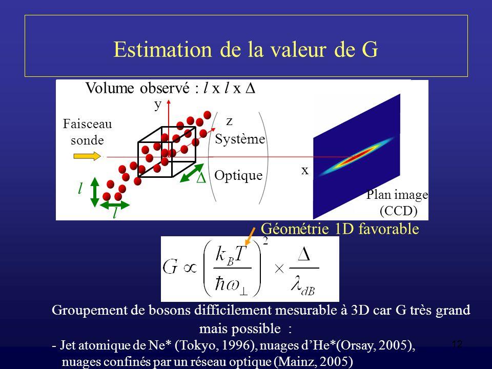 12 Estimation de la valeur de G Groupement de bosons difficilement mesurable à 3D car G très grand mais possible : - Jet atomique de Ne* (Tokyo, 1996)