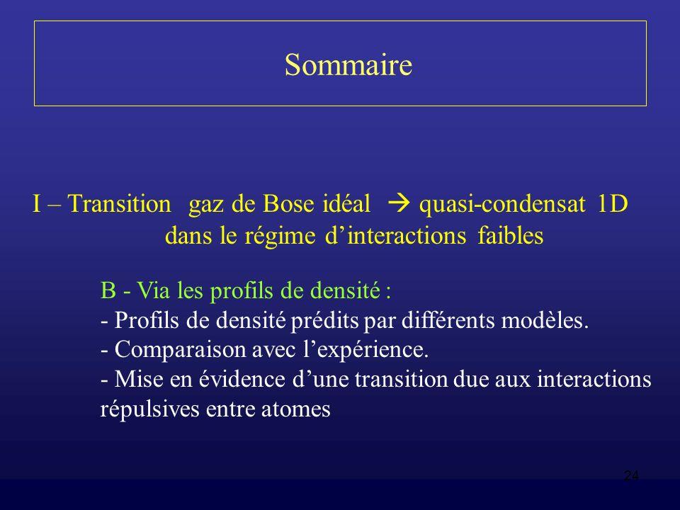 24 Sommaire I – Transition gaz de Bose idéal quasi-condensat 1D dans le régime dinteractions faibles B - Via les profils de densité : - Profils de den