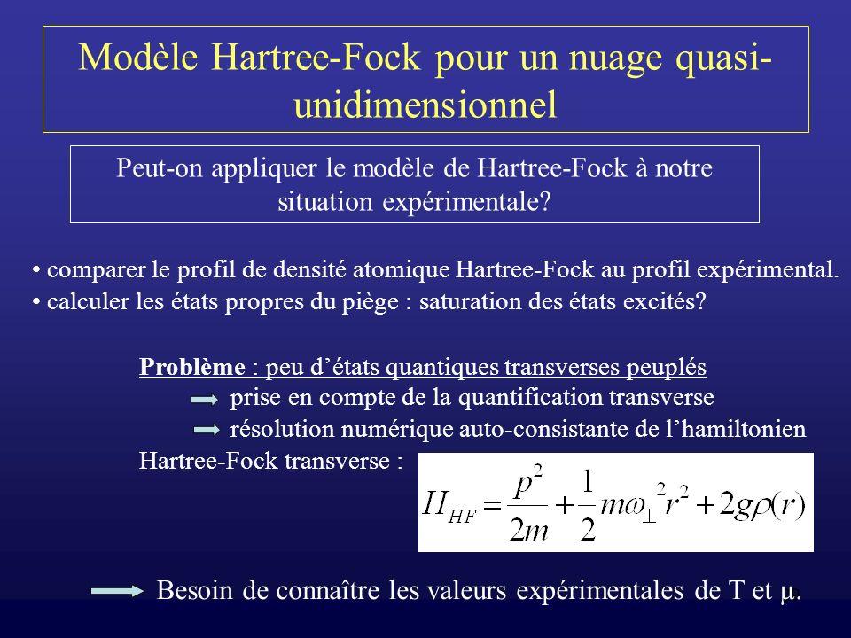29 Modèle Hartree-Fock pour un nuage quasi- unidimensionnel Peut-on appliquer le modèle de Hartree-Fock à notre situation expérimentale? comparer le p