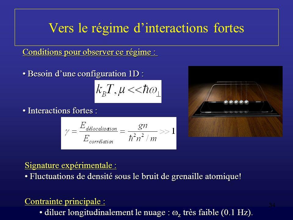 34 Vers le régime dinteractions fortes Contrainte principale : diluer longitudinalement le nuage : z très faible (0.1 Hz). diluer longitudinalement le