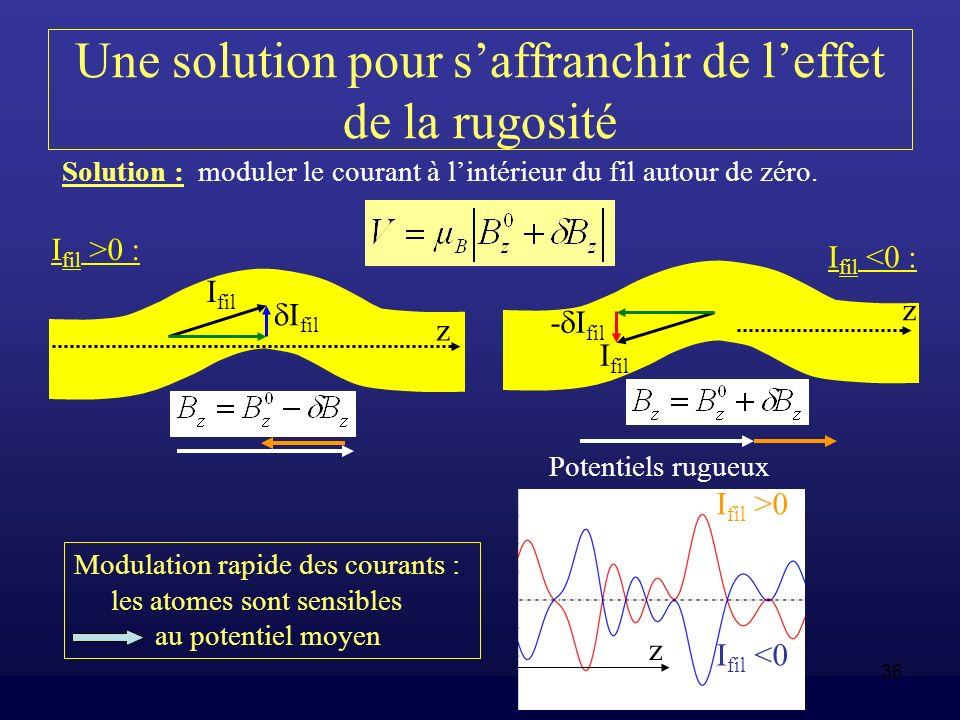 36 Une solution pour saffranchir de leffet de la rugosité Solution : moduler le courant à lintérieur du fil autour de zéro. I fil I fil >0 : I fil <0