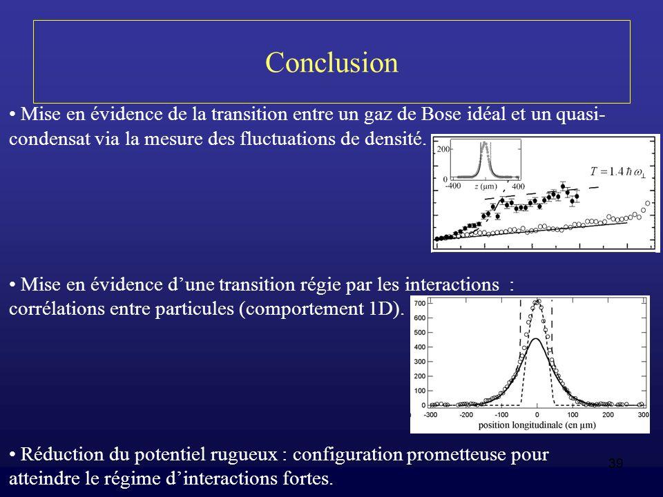 39 Conclusion Mise en évidence de la transition entre un gaz de Bose idéal et un quasi- condensat via la mesure des fluctuations de densité. Mise en é