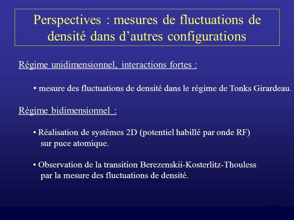 40 Perspectives : mesures de fluctuations de densité dans dautres configurations Régime unidimensionnel, interactions fortes : mesure des fluctuations