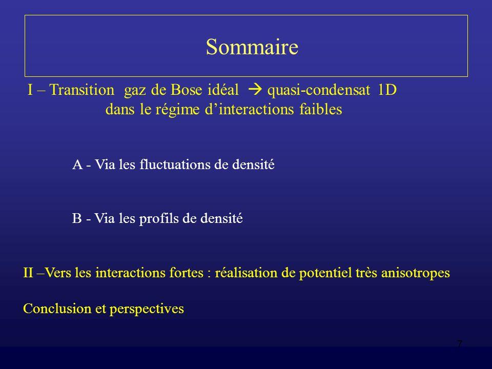7 Sommaire I – Transition gaz de Bose idéal quasi-condensat 1D dans le régime dinteractions faibles A - Via les fluctuations de densité B - Via les pr