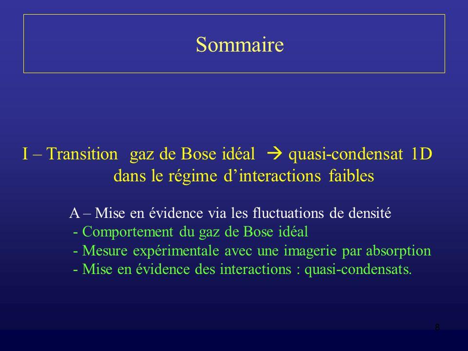 8 Sommaire I – Transition gaz de Bose idéal quasi-condensat 1D dans le régime dinteractions faibles A – Mise en évidence via les fluctuations de densi