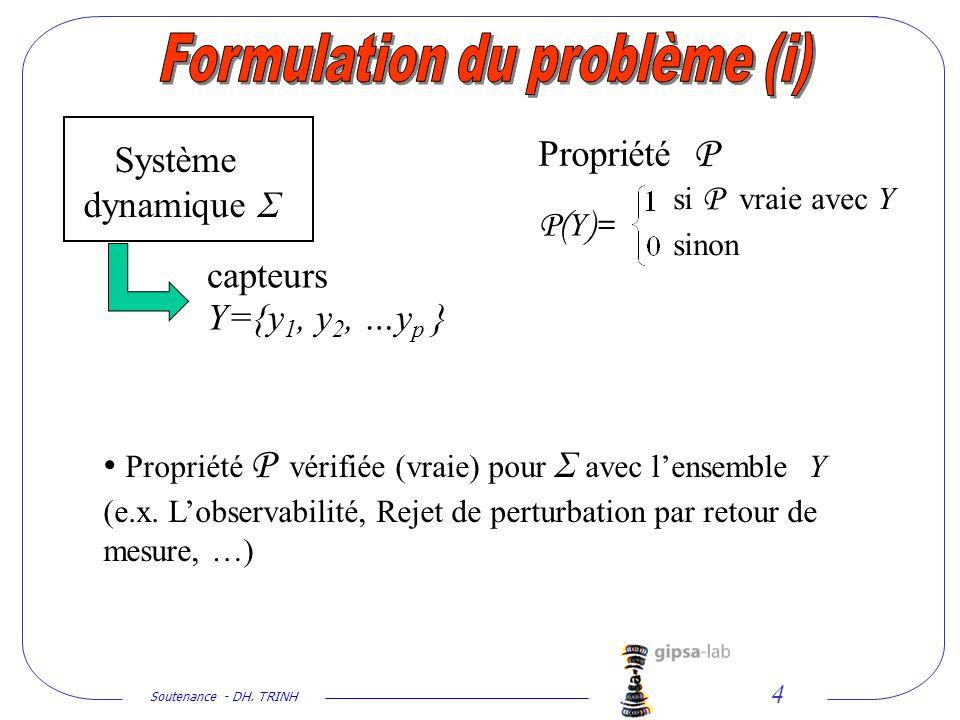 Soutenance - DH. TRINH 4 Propriété P si P vraie avec Y sinon P( Y )= Propriété P vérifiée (vraie) pour Σ avec lensemble Y (e.x. Lobservabilité, Rejet