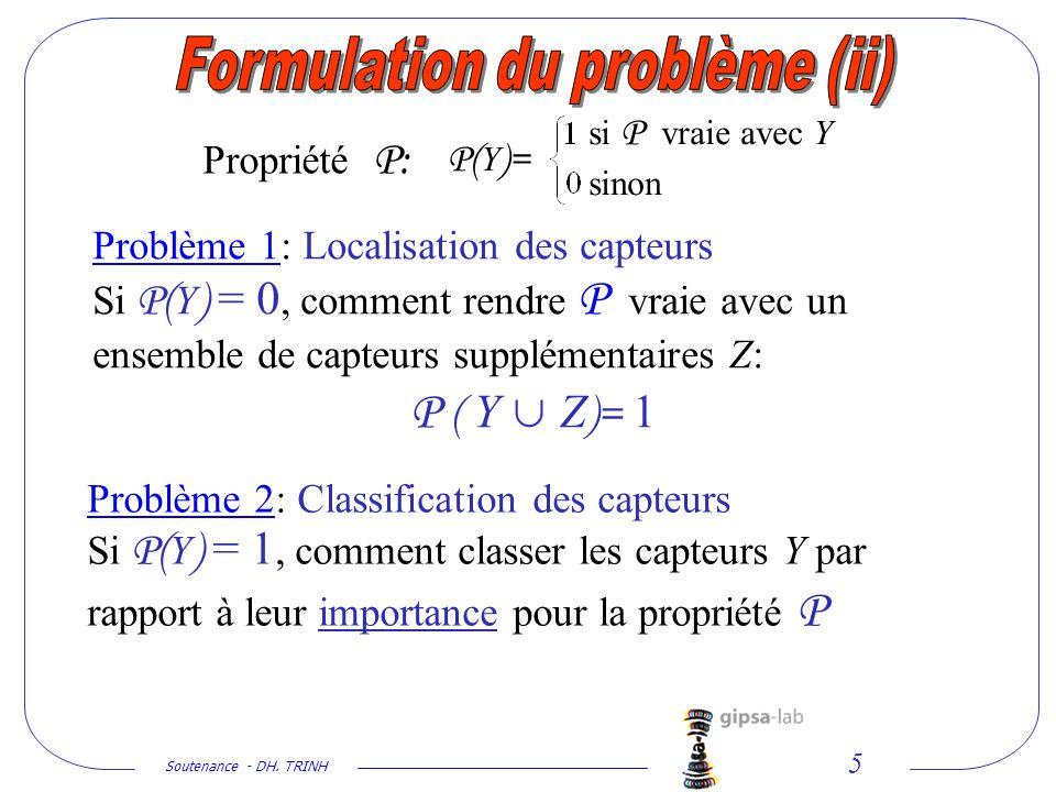 Soutenance - DH. TRINH 5 Problème 2: Classification des capteurs Si P( Y ) = 1, comment classer les capteurs Y par rapport à leur importance pour la p