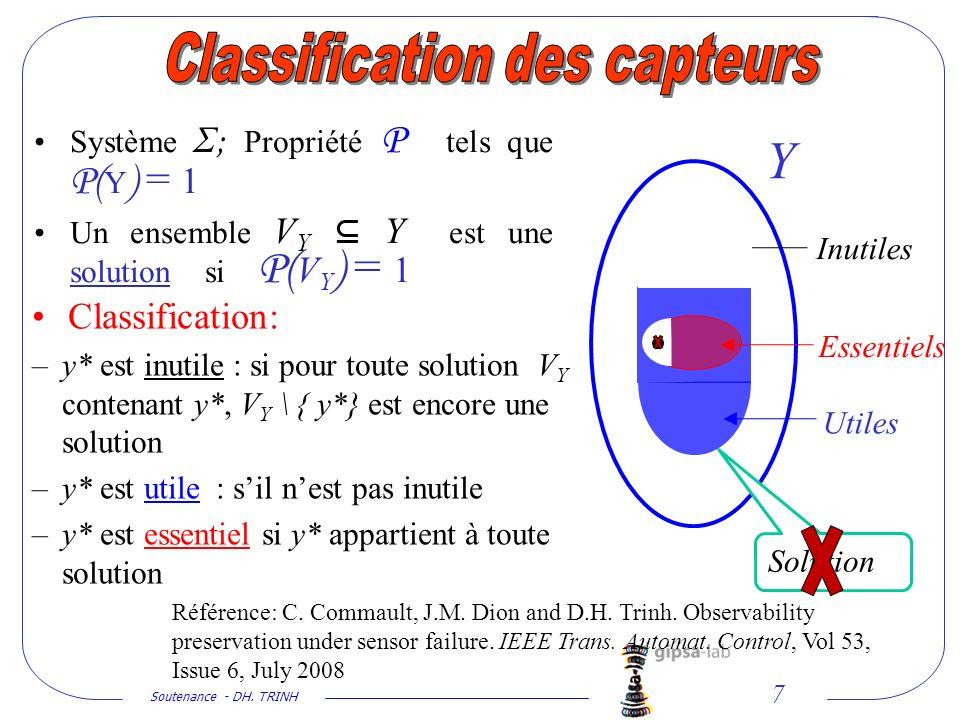 Soutenance - DH. TRINH 7 Système Σ ; Propriété P tels que P( Y ) = 1 Un ensemble V Y Y est une solution si P( V Y ) = 1 Classification: –y* est inutil