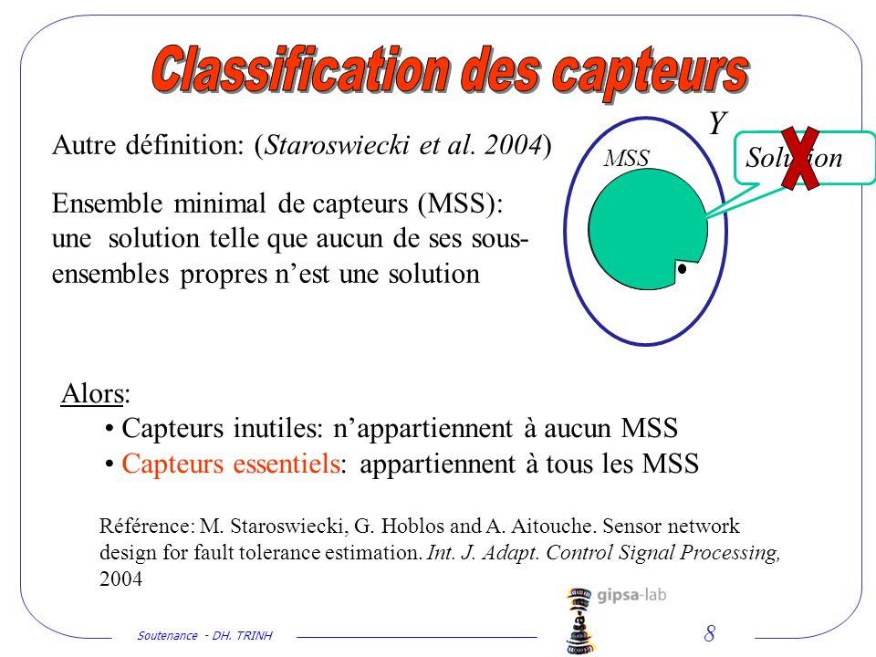 Soutenance - DH. TRINH 8 Autre définition: (Staroswiecki et al. 2004) Ensemble minimal de capteurs (MSS): une solution telle que aucun de ses sous- en