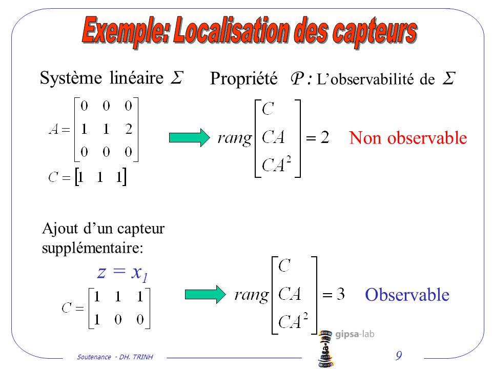 Soutenance - DH. TRINH 9 Système linéaire Σ Ajout dun capteur supplémentaire: z = x 1 Propriété P : Lobservabilité de Σ Non observable Observable