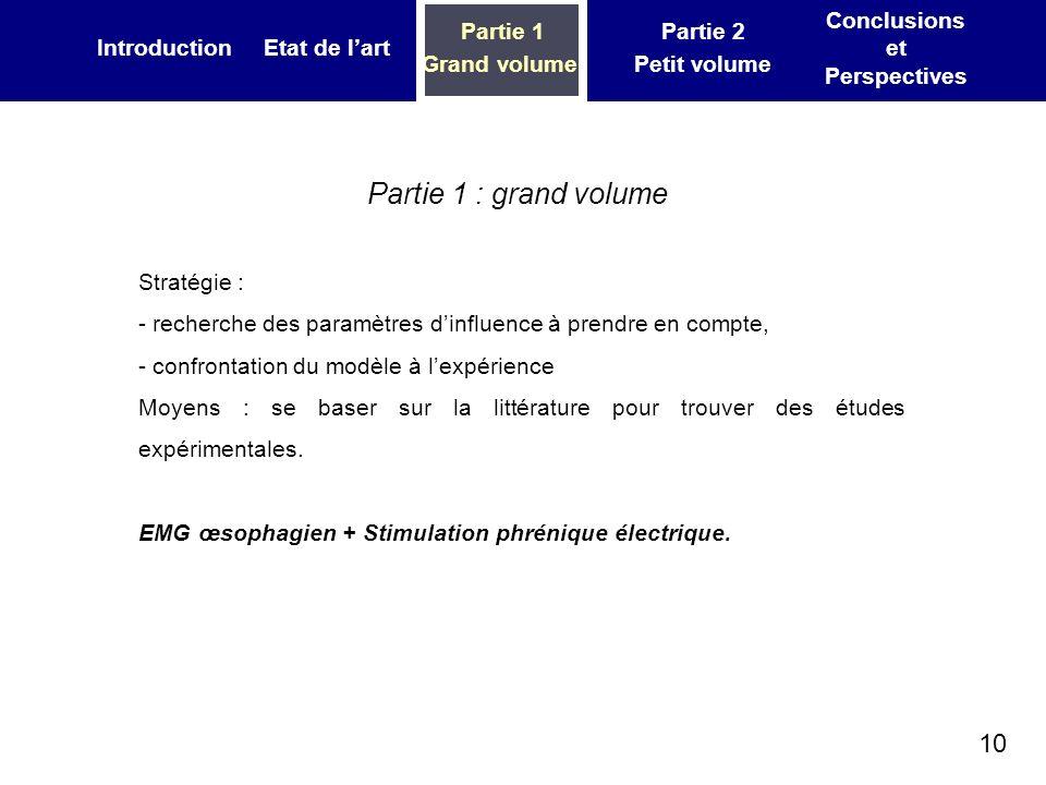 10 IntroductionEtat de lart Partie 1 Grand volume Partie 2 Petit volume Conclusions et Perspectives Partie 1 : grand volume Stratégie : - recherche de