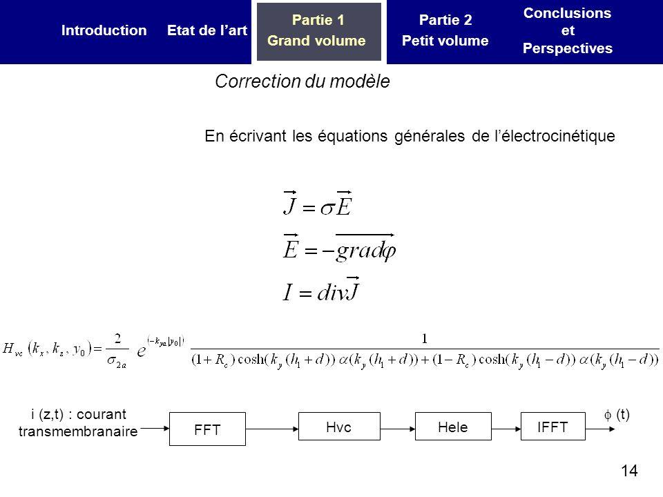 14 IntroductionEtat de lart Partie 1 Grand volume Partie 2 Petit volume Conclusions et Perspectives En écrivant les équations générales de lélectrocin