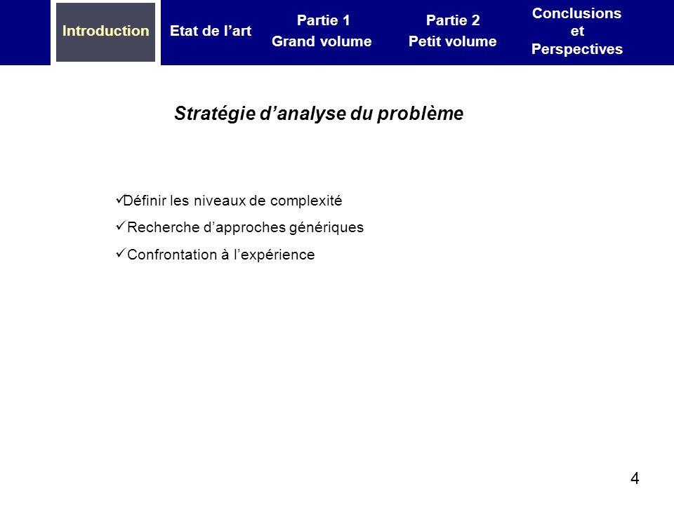 4 IntroductionEtat de lart Partie 1 Grand volume Partie 2 Petit volume Conclusions et Perspectives Définir les niveaux de complexité Recherche dapproc