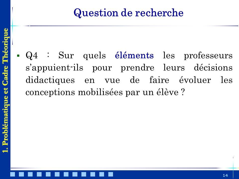 14 Question de recherche 1. Problématique et Cadre Théorique Q4 : Sur quels éléments les professeurs sappuient-ils pour prendre leurs décisions didact