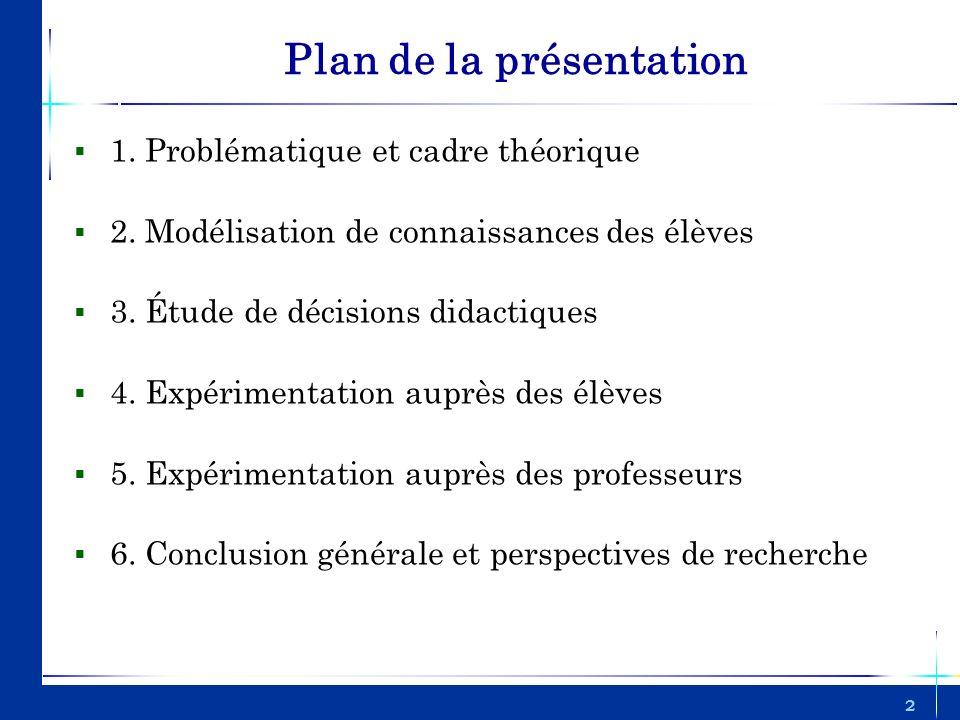 2 Plan de la présentation 1. Problématique et cadre théorique 2. Modélisation de connaissances des élèves 3. Étude de décisions didactiques 4. Expérim