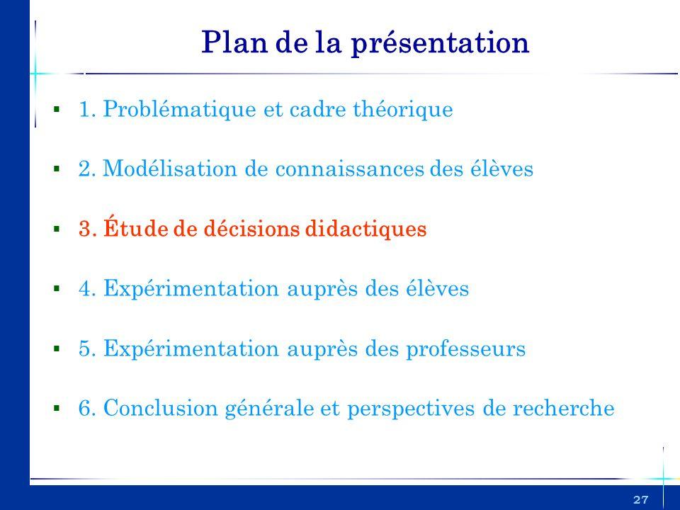 27 Plan de la présentation 1. Problématique et cadre théorique 2. Modélisation de connaissances des élèves 3. Étude de décisions didactiques 4. Expéri