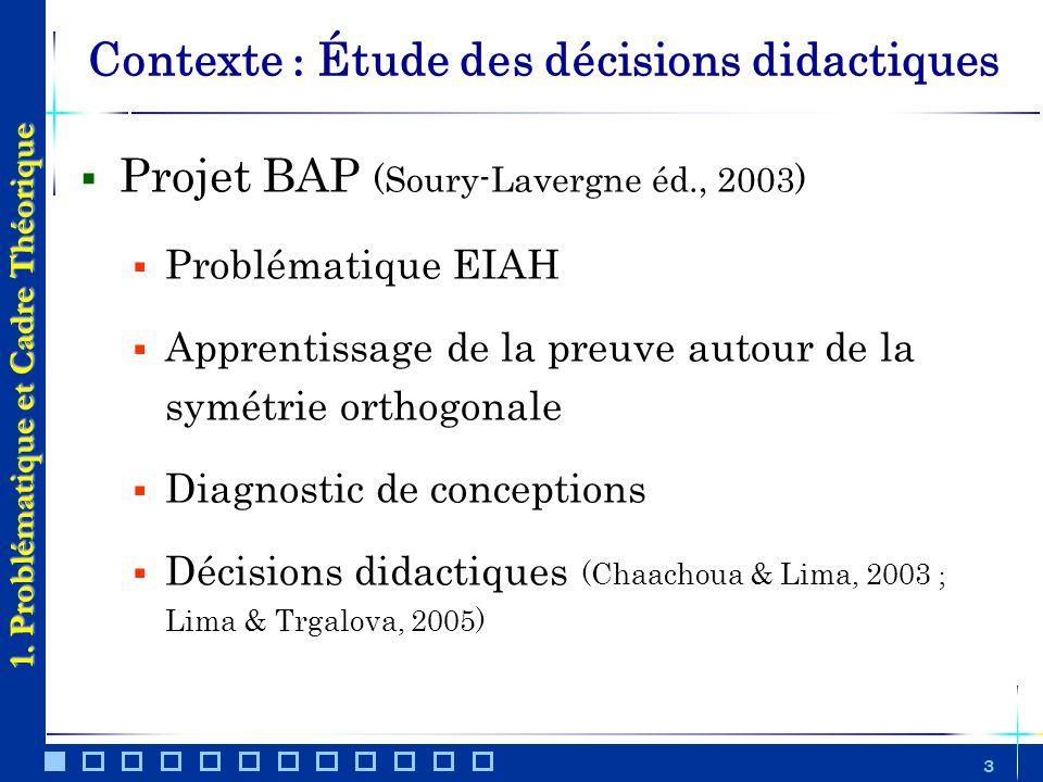3 Contexte : Étude des décisions didactiques 1. Problématique et Cadre Théorique Projet BAP (Soury-Lavergne éd., 2003) Problématique EIAH Apprentissag