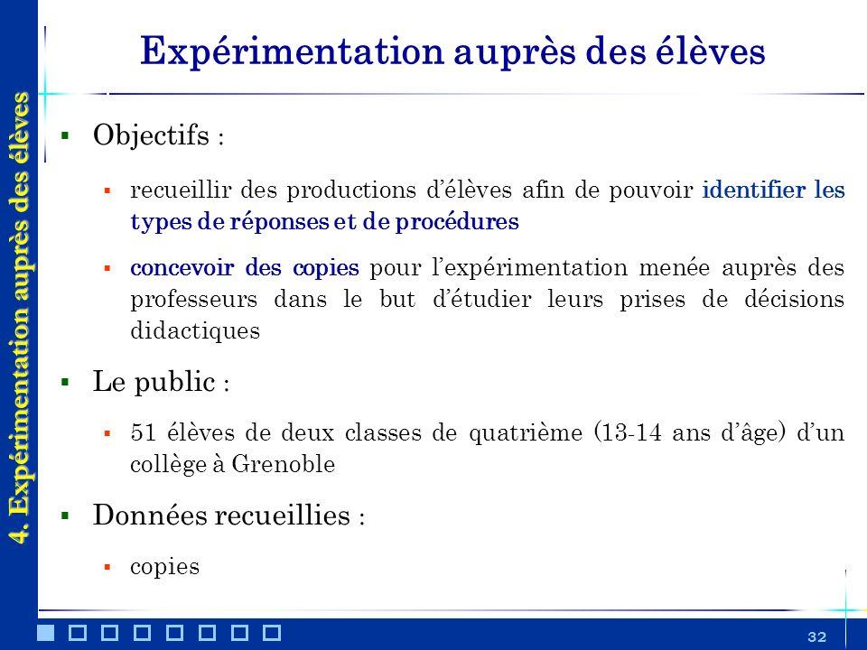 32 Expérimentation auprès des élèves Objectifs : recueillir des productions délèves afin de pouvoir identifier les types de réponses et de procédures