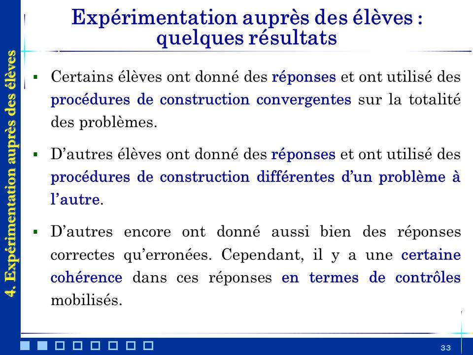 33 Expérimentation auprès des élèves : quelques résultats Certains élèves ont donné des réponses et ont utilisé des procédures de construction converg