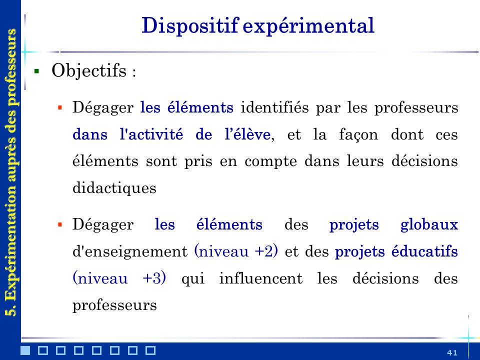 41 Dispositif expérimental Objectifs : Dégager les éléments identifiés par les professeurs dans l'activité de lélève, et la façon dont ces éléments so