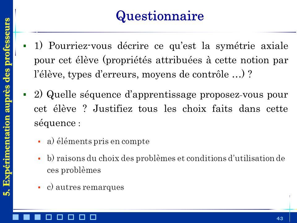43 Questionnaire 5. Expérimentation auprès des professeurs 1) Pourriez-vous décrire ce quest la symétrie axiale pour cet élève (propriétés attribuées