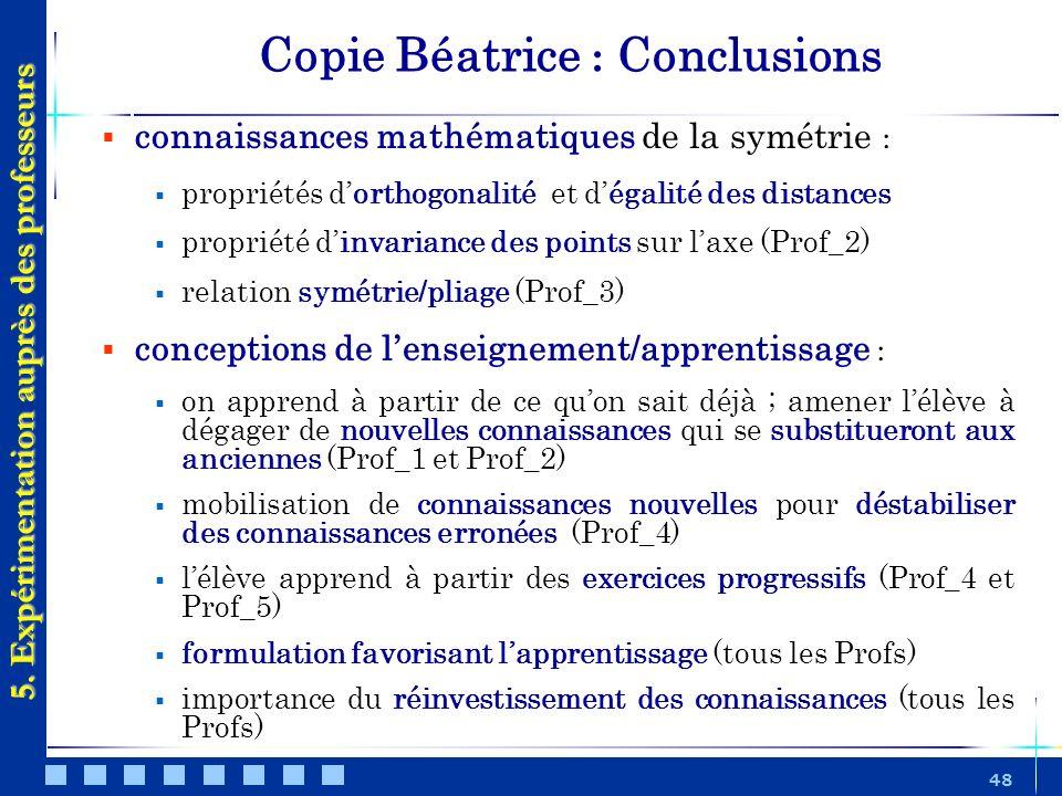 48 5. Expérimentation auprès des professeurs connaissances mathématiques de la symétrie : propriétés dorthogonalité et dégalité des distances propriét