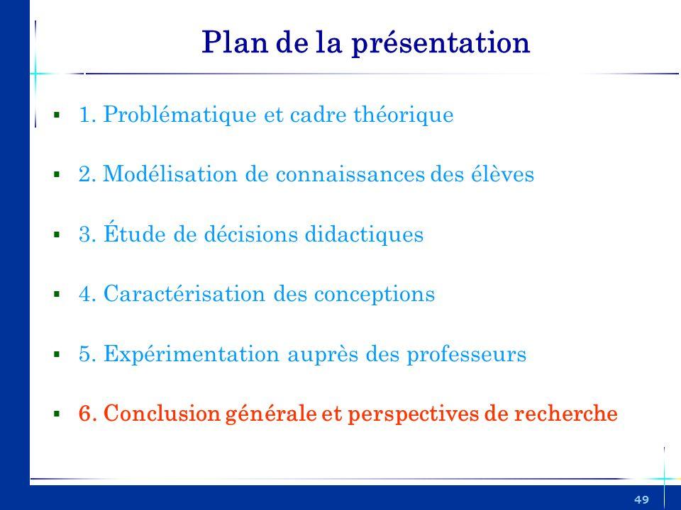 49 Plan de la présentation 1. Problématique et cadre théorique 2. Modélisation de connaissances des élèves 3. Étude de décisions didactiques 4. Caract