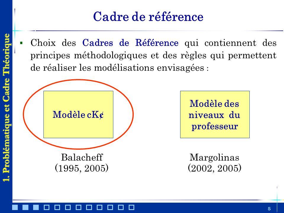 5 Choix des Cadres de Référence qui contiennent des principes méthodologiques et des règles qui permettent de réaliser les modélisations envisagées :