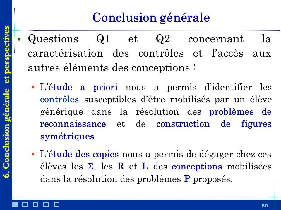 50 Conclusion générale Questions Q1 et Q2 concernant la caractérisation des contrôles et laccès aux autres éléments des conceptions : Létude a priori
