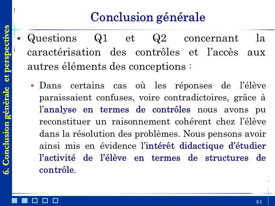 51 Conclusion générale Questions Q1 et Q2 concernant la caractérisation des contrôles et laccès aux autres éléments des conceptions : Dans certains ca