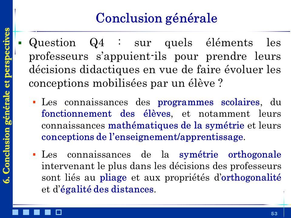 53 Conclusion générale Question Q4 : sur quels éléments les professeurs sappuient-ils pour prendre leurs décisions didactiques en vue de faire évoluer