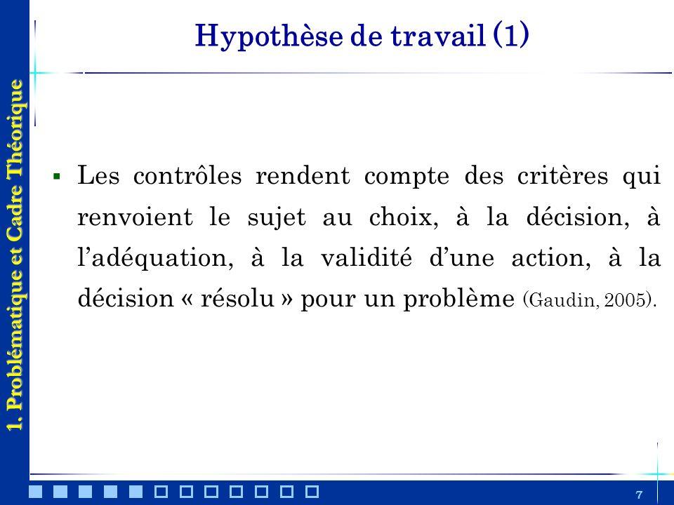 7 Hypothèse de travail (1) Les contrôles rendent compte des critères qui renvoient le sujet au choix, à la décision, à ladéquation, à la validité dune