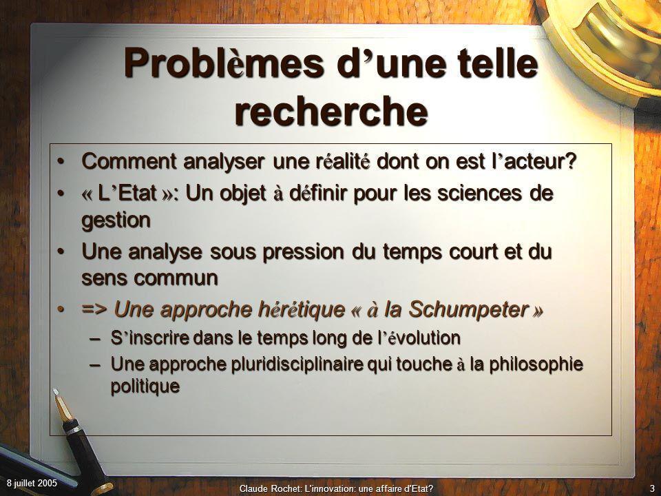 8 juillet 2005 Claude Rochet: L innovation: une affaire d Etat?3 Probl è mes d une telle recherche Comment analyser une r é alit é dont on est l acteur?Comment analyser une r é alit é dont on est l acteur.