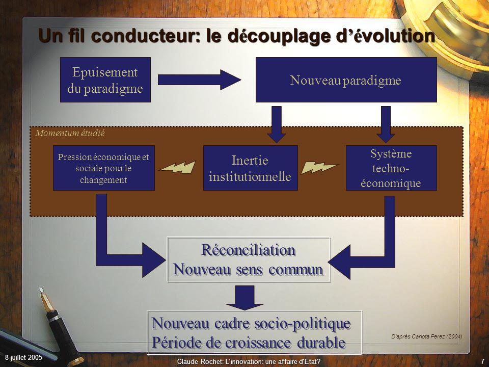 8 juillet 2005 Claude Rochet: L innovation: une affaire d Etat?17 Un Etat r é silient et adaptatif.