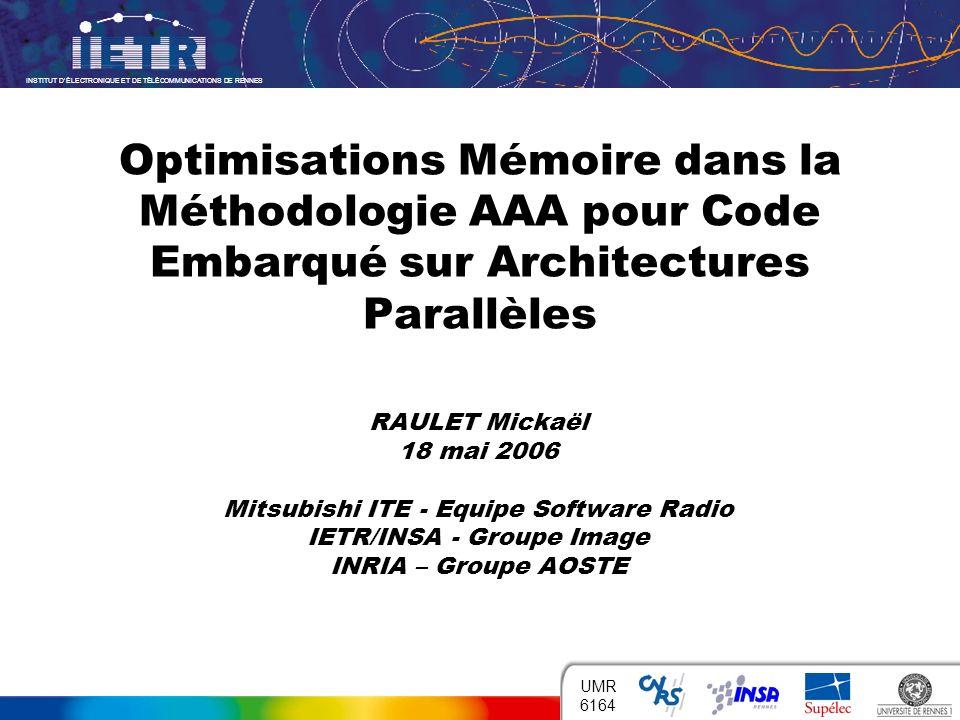INSTITUT DÉLECTRONIQUE ET DE TÉLÉCOMMUNICATIONS DE RENNES 1 UMR 6164 Optimisations Mémoire dans la Méthodologie AAA pour Code Embarqué sur Architectur