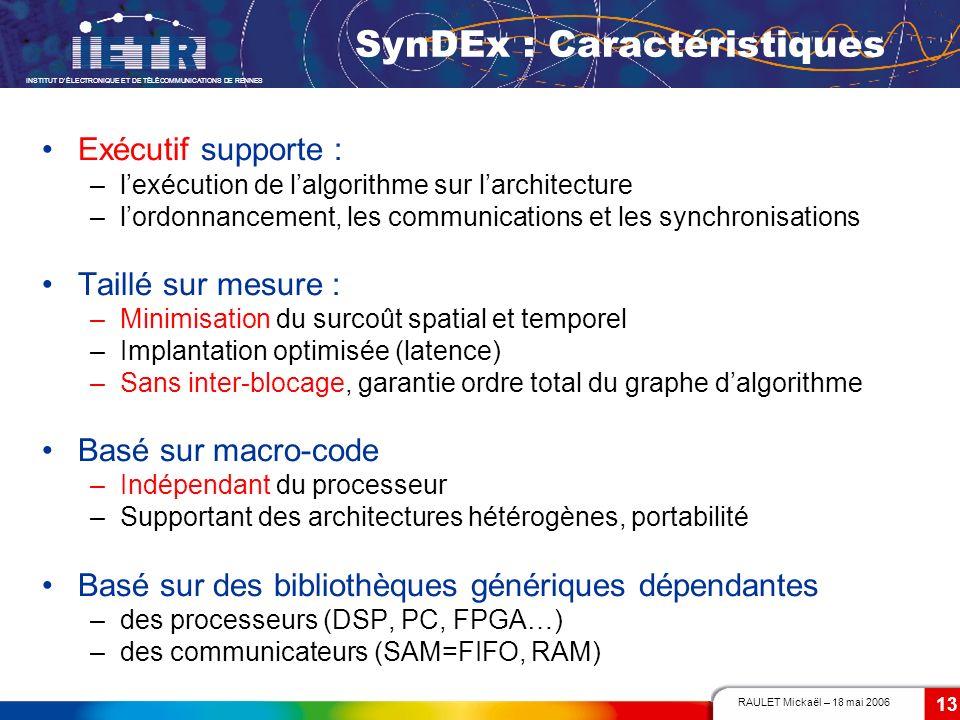 RAULET Mickaël – 18 mai 2006 INSTITUT DÉLECTRONIQUE ET DE TÉLÉCOMMUNICATIONS DE RENNES 13 SynDEx : Caractéristiques Exécutif supporte : –lexécution de