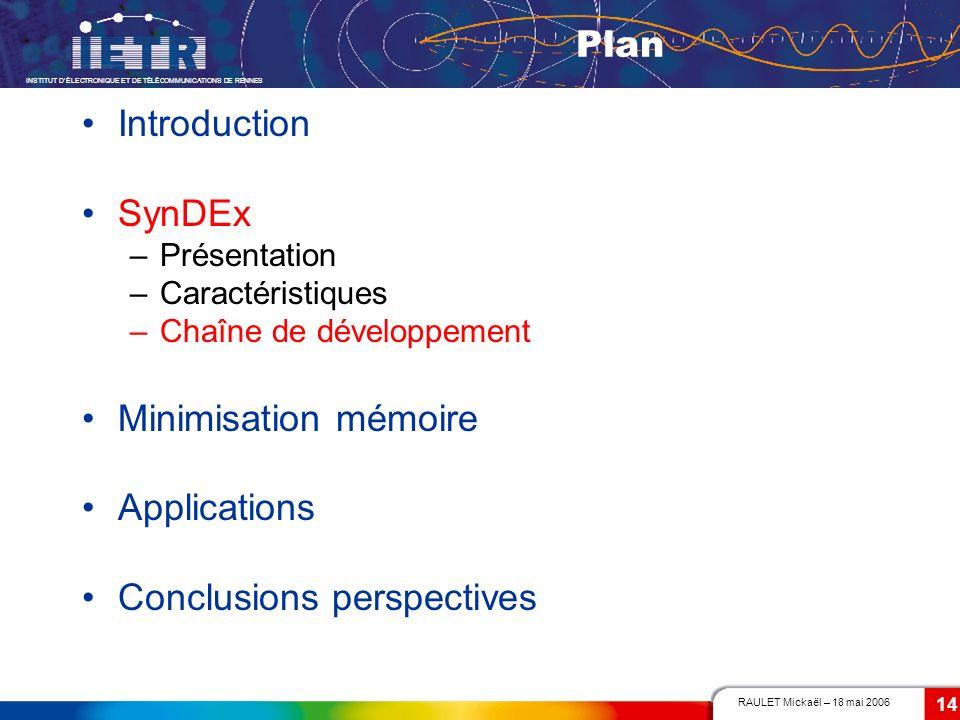 RAULET Mickaël – 18 mai 2006 INSTITUT DÉLECTRONIQUE ET DE TÉLÉCOMMUNICATIONS DE RENNES 14 Plan Introduction SynDEx –Présentation –Caractéristiques –Ch
