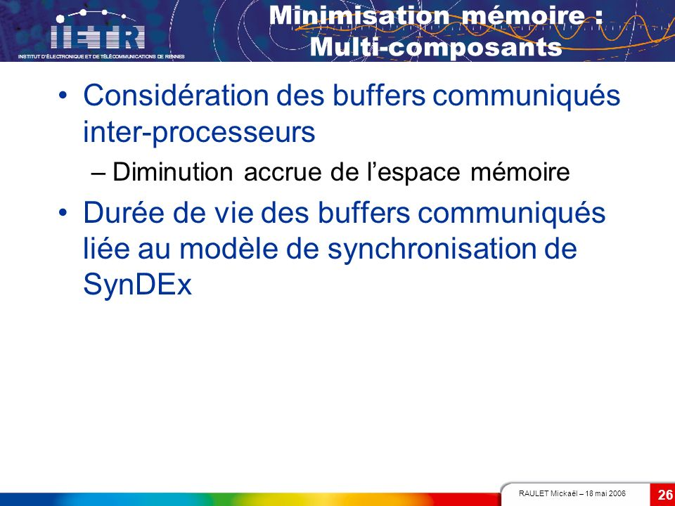 RAULET Mickaël – 18 mai 2006 INSTITUT DÉLECTRONIQUE ET DE TÉLÉCOMMUNICATIONS DE RENNES 26 Minimisation mémoire : Multi-composants Considération des bu