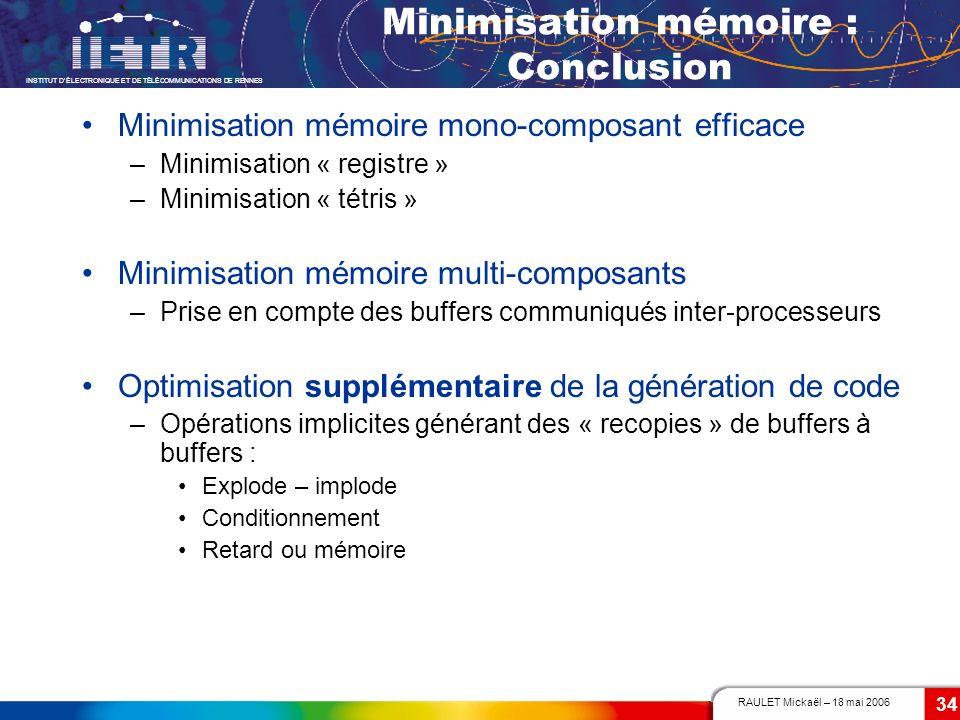 RAULET Mickaël – 18 mai 2006 INSTITUT DÉLECTRONIQUE ET DE TÉLÉCOMMUNICATIONS DE RENNES 34 Minimisation mémoire : Conclusion Minimisation mémoire mono-
