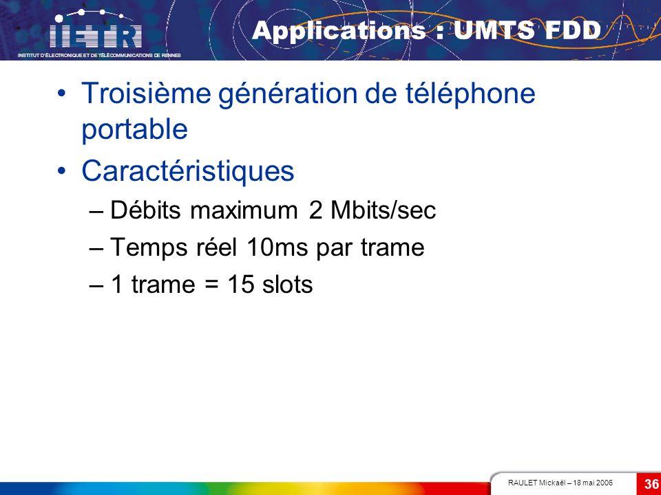 RAULET Mickaël – 18 mai 2006 INSTITUT DÉLECTRONIQUE ET DE TÉLÉCOMMUNICATIONS DE RENNES 36 Applications : UMTS FDD Troisième génération de téléphone po
