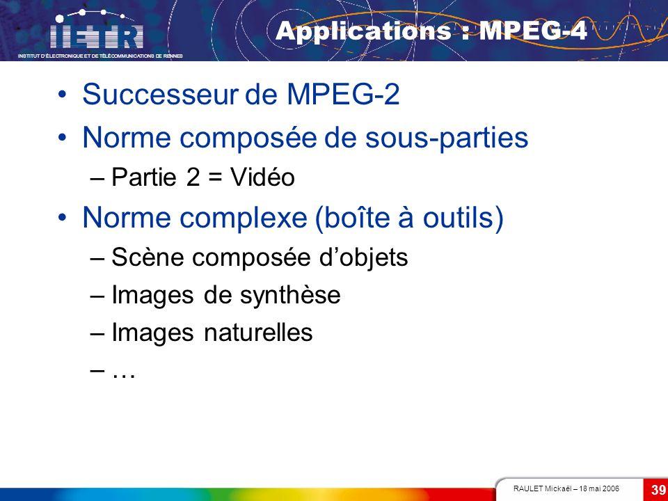 RAULET Mickaël – 18 mai 2006 INSTITUT DÉLECTRONIQUE ET DE TÉLÉCOMMUNICATIONS DE RENNES 39 Applications : MPEG-4 Successeur de MPEG-2 Norme composée de