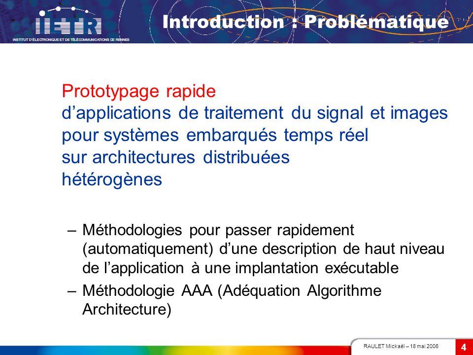 RAULET Mickaël – 18 mai 2006 INSTITUT DÉLECTRONIQUE ET DE TÉLÉCOMMUNICATIONS DE RENNES 4 Prototypage rapide dapplications de traitement du signal et i